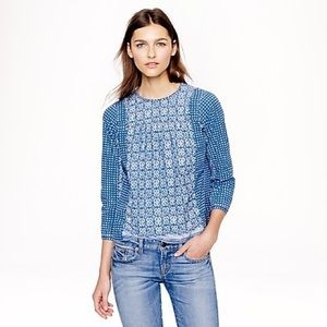 J Crew A2081 Bleached-Out Indigo Top - Size 6